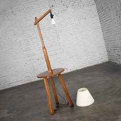 A Brandt Ranch Oak Furniture Vintage ranch oak adjustable arm floor lamp tri leg base with table by a brandt - 1938961