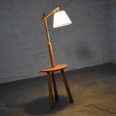 A Brandt Ranch Oak Furniture Vintage ranch oak adjustable arm floor lamp tri leg base with table by a brandt - 1938962
