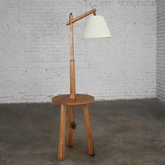 A Brandt Ranch Oak Furniture Vintage ranch oak adjustable arm floor lamp tri leg base with table by a brandt - 1938978