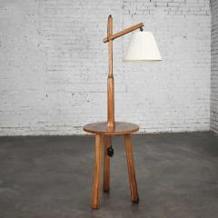 A Brandt Ranch Oak Furniture Vintage ranch oak adjustable arm floor lamp tri leg base with table by a brandt - 1938980