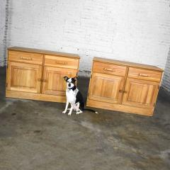 A Brandt Ranch Oak Furniture vintage ranch oak pair of small credenzas or buffet cabinets - 1938936