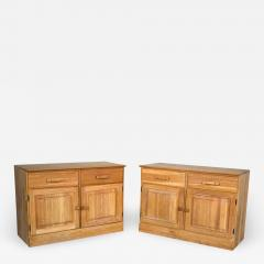 A Brandt Ranch Oak Furniture vintage ranch oak pair of small credenzas or buffet cabinets - 1940581