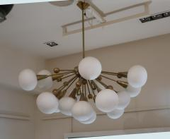 A Brass and Opaline Glass Midcentury Italian Ceiling Lamp 1970 - 1083415