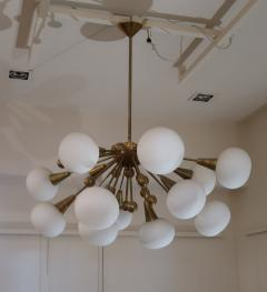 A Brass and Opaline Glass Midcentury Italian Ceiling Lamp 1970 - 1083417
