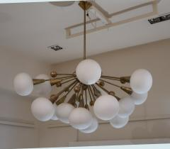 A Brass and Opaline Glass Midcentury Italian Ceiling Lamp 1970 - 1083419