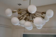 A Brass and Opaline Glass Midcentury Italian Ceiling Lamp 1970 - 1083420