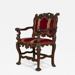 A Carved Rococo Period Hardwood Armchair Of Large Scale - 1703246