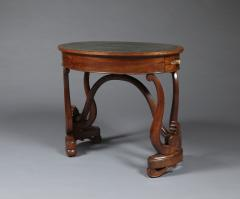 A Charles X Carved Mahogany Oval Writing Table of Unusual Form - 1427182