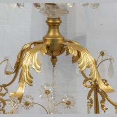 A Charming Gilt Metal and Rock Crystal Cage Formed Eight Light Chandelier - 1444306