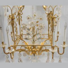 A Charming Gilt Metal and Rock Crystal Cage Formed Eight Light Chandelier - 1444309