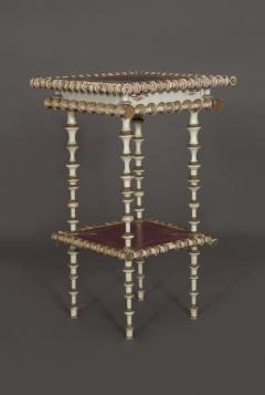 A Charming White And Purple Painted Bobbin Turned Table - 854569