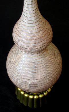 A Chic Pair of American Double Gourd Form Taupe Glazed Lamps - 404364