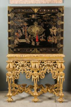 A Chinese Brass Mounted Lacquer Cabinet on a Charles II Gilt wood Stand - 992286
