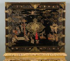 A Chinese Brass Mounted Lacquer Cabinet on a Charles II Gilt wood Stand - 992287