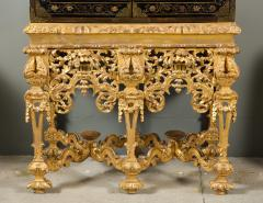 A Chinese Brass Mounted Lacquer Cabinet on a Charles II Gilt wood Stand - 992288