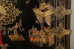 A Chinese Brass Mounted Lacquer Cabinet on a Charles II Gilt wood Stand - 992289
