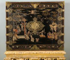 A Chinese Brass Mounted Lacquer Cabinet on a Charles II Gilt wood Stand - 992290