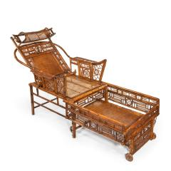 A Chinese Export Brighton Pavilion bamboo adjustable day bed - 1682486