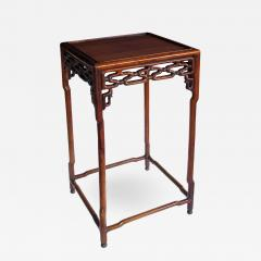 A Chinese Hongmu Wood Square Side Table With Openwork Apron   552589