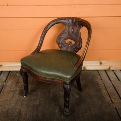 A Chinese carved dragon chair with leather seat 19th C  - 2128930