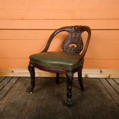 A Chinese carved dragon chair with leather seat 19th C  - 2128931