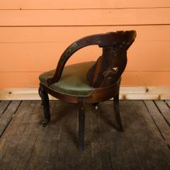 A Chinese carved dragon chair with leather seat 19th C  - 2128932