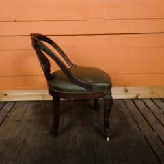 A Chinese carved dragon chair with leather seat 19th C  - 2128969