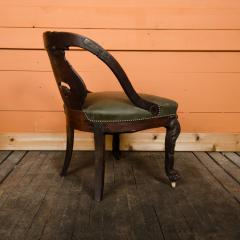 A Chinese carved dragon chair with leather seat 19th C  - 2128971