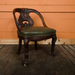 A Chinese carved dragon chair with leather seat 19th C  - 2128983