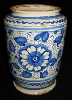A Conical Shaped Albarello with Blue and White Floral Motif - 307676