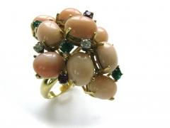 A Coral and Gemstone Cocktail Ring c1960 - 44921