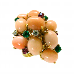 A Coral and Gemstone Cocktail Ring c1960 - 45026