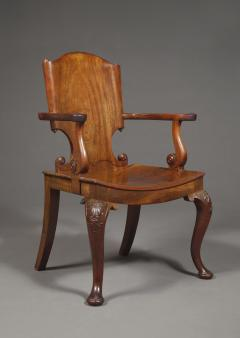 A Cuban Mahogany Armchair The Back In The Form Of A Paper Scroll - 1306229
