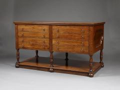 A FRUITWOOD SIX LEG LIBRARY OR MAP TABLE FITTED WITH TWO BANKS OF NARROW DRAWERS - 1288017