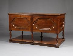 A FRUITWOOD SIX LEG LIBRARY OR MAP TABLE FITTED WITH TWO BANKS OF NARROW DRAWERS - 1288033