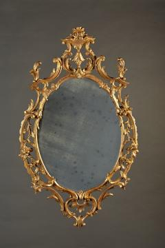 A Fine Chippendale Period Carved Giltwood Oval Mirror - 638109