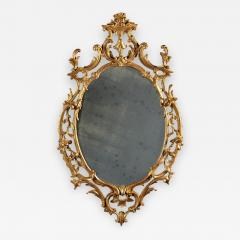 A Fine Chippendale Period Carved Giltwood Oval Mirror - 639800