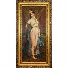 A Fine Orientalist Painting of a Beautiful Half Nude Odalisque Holding a Fan - 1434551