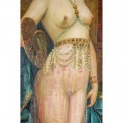 A Fine Orientalist Painting of a Beautiful Half Nude Odalisque Holding a Fan - 1434552