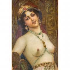 A Fine Orientalist Painting of a Beautiful Half Nude Odalisque Holding a Fan - 1434554