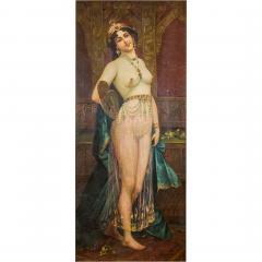 A Fine Orientalist Painting of a Beautiful Half Nude Odalisque Holding a Fan - 1435063