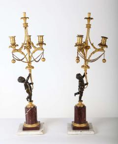 A Fine Pair of 18th Century Bronze and Gilt Bronze Candelabra - 632823