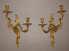 A Fine Pair of Chiseled and Chased Gilded Bronze Sconces - 313181