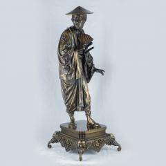 A Fine Pair of French Japonism Bronze Figures of a Geisha and a Samurai - 1436203
