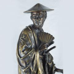 A Fine Pair of French Japonism Bronze Figures of a Geisha and a Samurai - 1436205