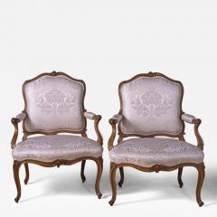 A Fine Pair of French Louis XV Period Fauteuils Stamped S Blanchard  - 122519