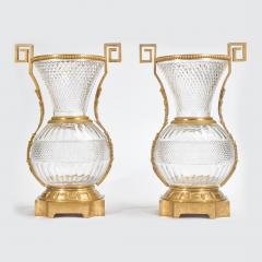 A Fine Pair of Large French Ormolu Mounted Cut Crystal Vases - 2034339