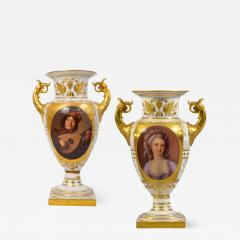 A Fine Pair of Vienna Style Porcelain Finely Painted Vases with Two Handles - 1568899