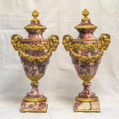 A Fine Quality Pair of Rouge Marble and Gilt Bronze Urns - 2034557