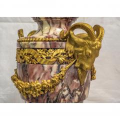 A Fine Quality Pair of Rouge Marble and Gilt Bronze Urns - 2034558